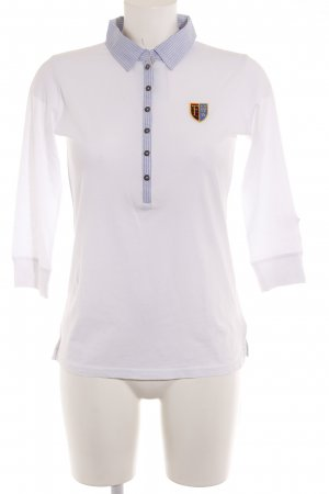 Fire + ice Polo shirt wit-donkerblauw gestreept patroon elegant
