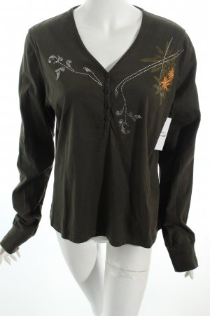 Fire + ice Pullover waldgrün florales Muster Casual-Look