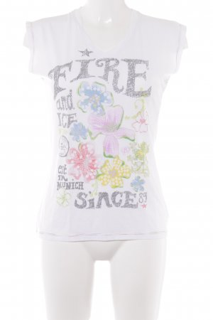 Fire + ice T-Shirt weiß-grau Blumenmuster Casual-Look
