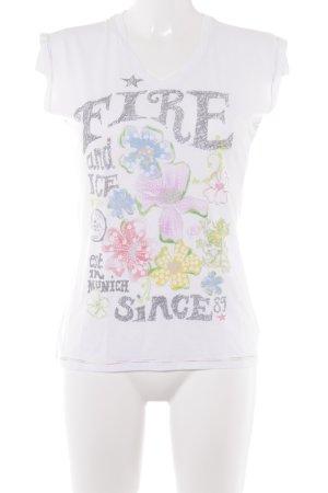 Fire + ice T-Shirt weiß-grau Blumenmuster Casual-Look