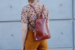 firenze bags handmade echtleder rucksack shoulderbag kastanienbraun