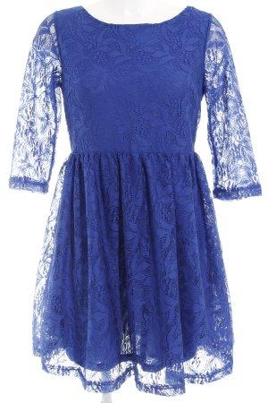 Fishbone A-Linien Kleid blau florales Muster Elegant