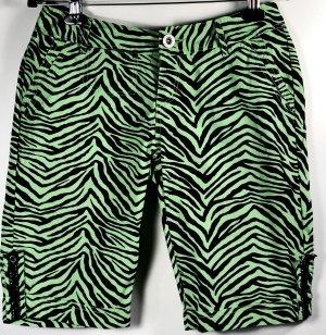 FISHBONE Damen Shorts Gr. 36 S grün schwarz Hose Capri Bermudas Zebra