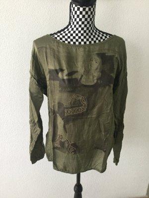 Fishbone Einheitsgrösse Khaki Top Pulli Sweatshirt S M L 38 40 mit Pailetten