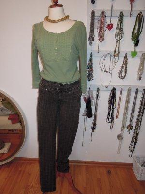 Fishbone Drainpipe Trousers black brown-dark green