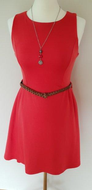 Fishbone Kleid mit Gürtel Neuwertig Rot Sommer Gr XS