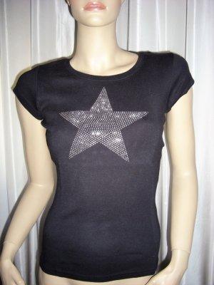 Fishbone Shirt mit Strass Steine Stern  Gr M 36 - 38  neuwertig
