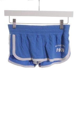 Fishbone Sporthose weiß-blau Schriftzug gedruckt sportlicher Stil