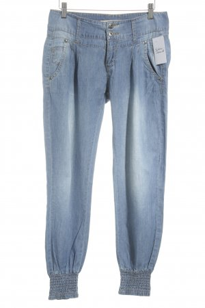 Fishbone Straight-Leg Jeans stahlblau Zierknöpfe