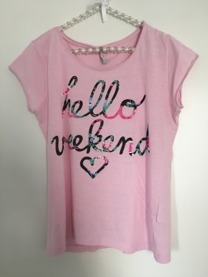 Fishbone T-Shirt rosa mit Print Gr. M