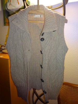 Coarse Knitted Jacket light brown-camel merino wool