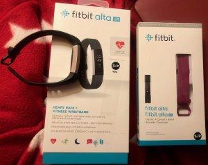 Fitbit AltaHR schwarz/edelstahl Aktivitätstracker-klein (S)+Classic Band fuchsia