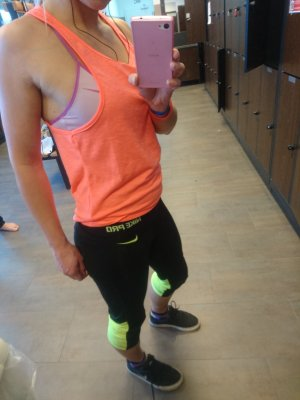Fitness Top Gym Shirt Neon Orange Gr. S