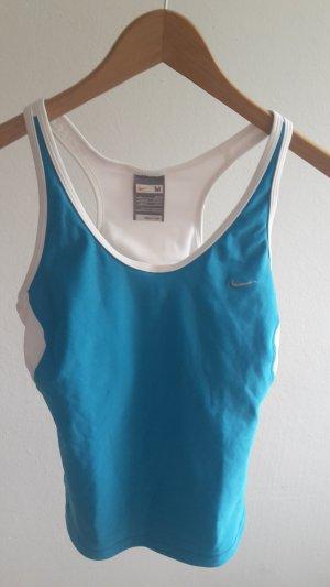 Fitnesstop von Nike mit integrierten BH in blau/weiß