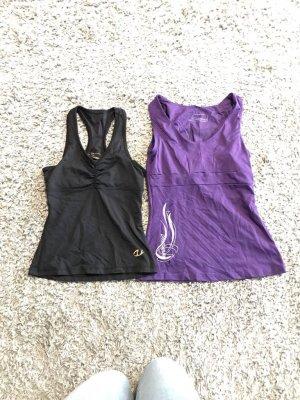 Fitnesstops 2ST schwarz und lila Größe 34 sehr guter Zustand neu