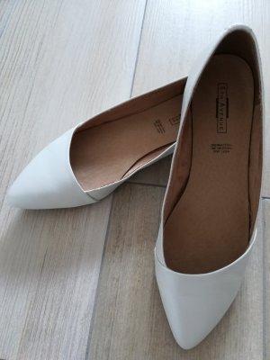 Flache Brautschuhe / spitze Ballerina / weiß / SALE