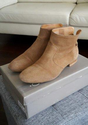 Flache COX Stiefeletten Chelsea Boots Booties Gr. 38 hellbraun braun beige Cognac