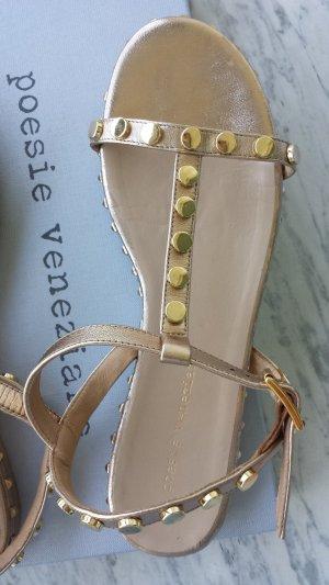 Flache goldene Sandalen mit Nieten, Leder, Gr. 38 fast neu, Poesie Veneziane