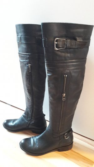 Overknees black-silver-colored leather