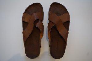 Plateauzool sandalen wit-cognac Leer