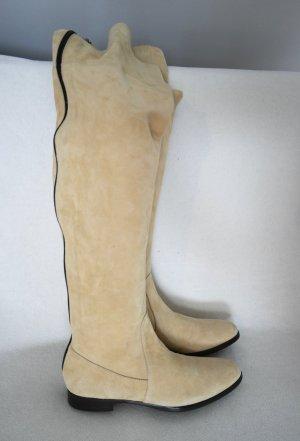 Flache Overkneestiefel aus Wildleder in beige/creme, nur 1x getragen