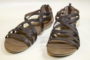 Flache Riemchen-Sandalen in braun von Marc O'Polo mit Ledersohle