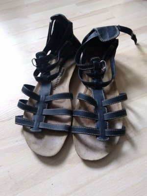 Roman Sandals black imitation leather