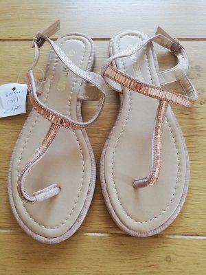High-Heeled Toe-Post Sandals rose-gold-coloured