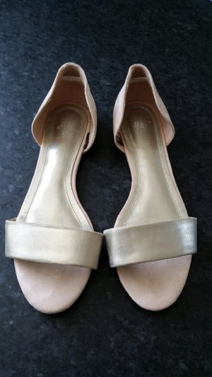H&M Peep Toe ballerina's zilver-stoffig roze