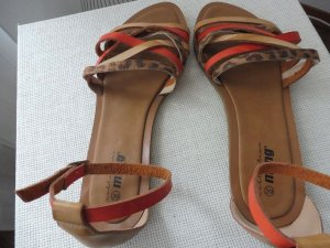 Strapped High-Heeled Sandals dark orange-sand brown