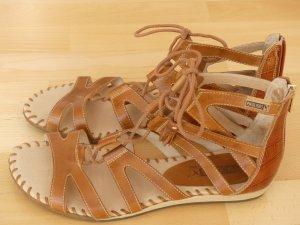 Flache Schnür-Sandalen braun, Größe 41, wenig getragen