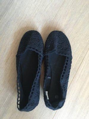 Flache Schuhe Ballerinas aus Stoff Spitzenballerinas schwarz Gr. 39