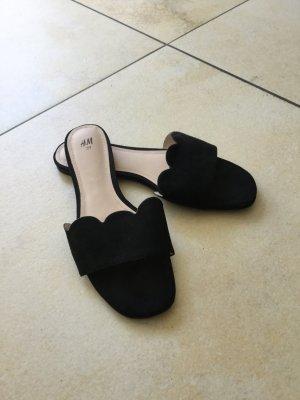 H&M Heel Pantolettes black imitation leather