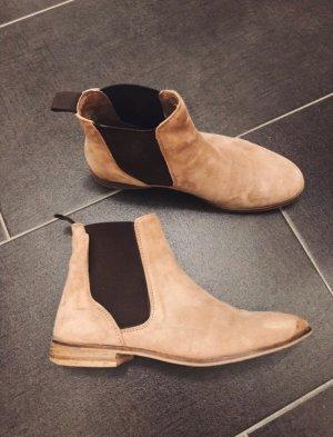 Flache Wildleder Boots Stiefeletten in beige