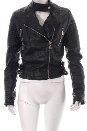 Flamant Rose Collection Kunstlederjacke schwarz-silberfarben Biker-Look