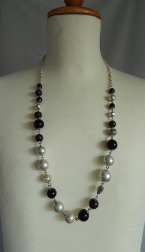 Flame,Modeschmuckkette, halsfern,Perlen aus Metall-Holz-Kunsstoff, silberfarben-braun