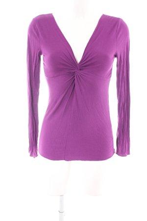 Flame V-Ausschnitt-Pullover lila Casual-Look