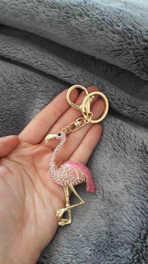 Flamingo Schlüsselanhänger Keycharm Anhänger Charm Glitzer Gold Pink Tropical