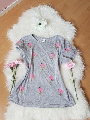 Flamingo T-Shirt mit Pailletten
