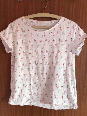 Esprit Camiseta estampada blanco-rosa