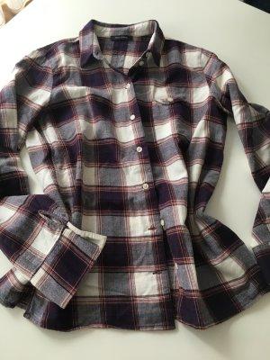 Marc O'Polo Flannel Shirt purple-blue cotton