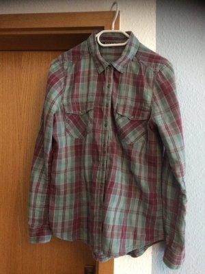 Review Flannel Shirt grey violet-pale blue cotton