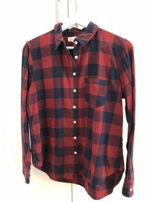 H&M L.O.G.G. Flannel Shirt red-dark blue
