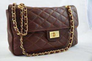 Bolsa de hombro marrón-negro Cuero