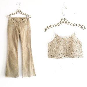 Vintage Pantalone di velluto a coste beige-beige chiaro
