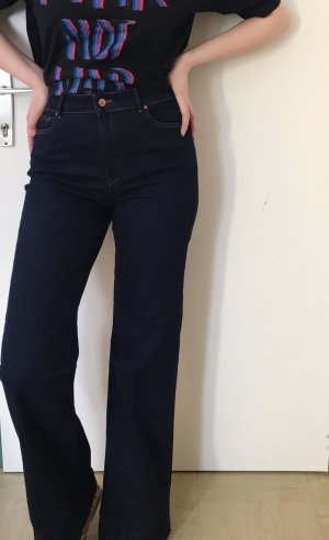 Mango Hoge taille jeans donkerblauw