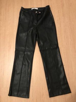 Mango Pantalón de cuero negro