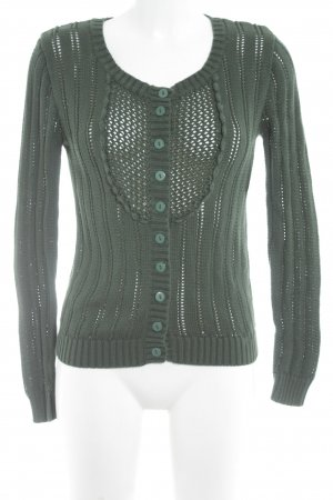 FlashLights Cardigan waldgrün Lochstrickmuster Casual-Look