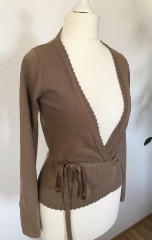 FlashLights Feinstrickjacke XS 34 Wrapcardigan Taupe Strickjacke Cardigan
