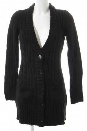 FlashLights Strickjacke schwarz Zopfmuster Casual-Look